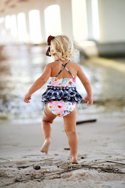 Buffalo Plaid and Floral Tankini Ready to ship