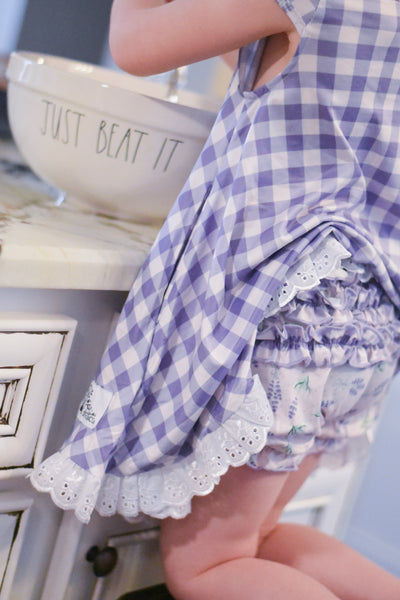 {Lavender} Gingham - Gigi Gown Set