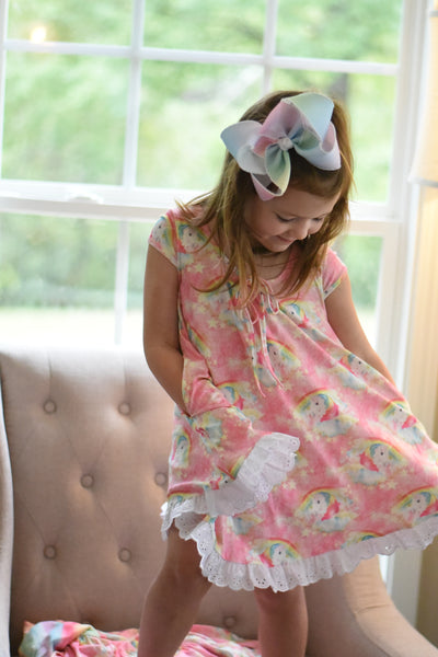 Unicorn and Rainbow Gigi gown set ready to ship