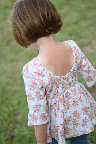 Rustic Chic 3/4th sleeve - Piper peplum 12m