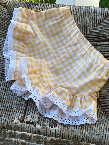 Yellow Gingham - Birdie Shorts