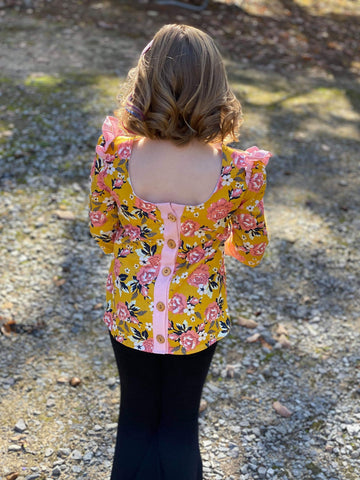 Mustard Floral Laura Top - 12m to 3t & 12y - RTS