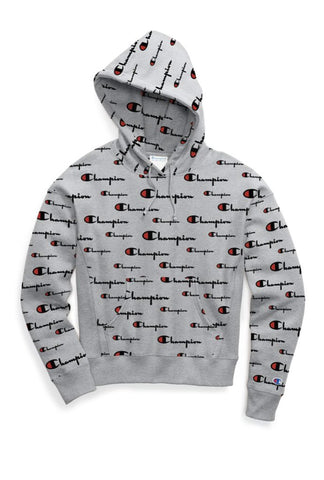 Champion Reverse Weave Women's Pullover Hoodie, All-over Logo