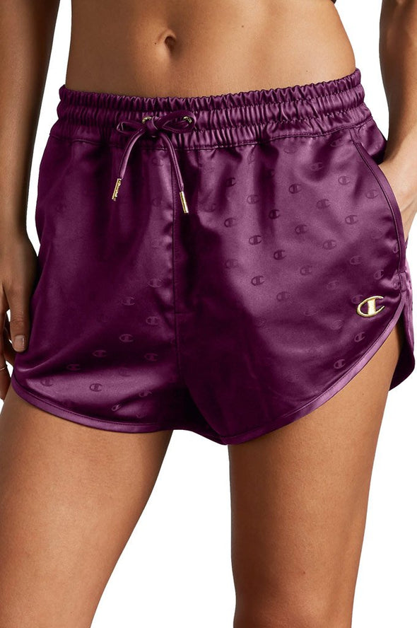 Champion Satin Shorts, Gold Lurex C Logo - Mainland Skate & Surf