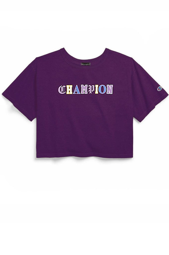 Champion Heritage Cropped Tee, Old English - Mainland Skate & Surf