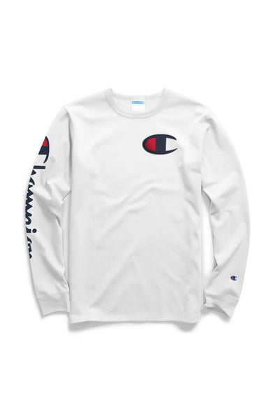 Champion Heritage Long-Sleeve Tee, Big C & Vertical Logo - Mainland Skate & Surf