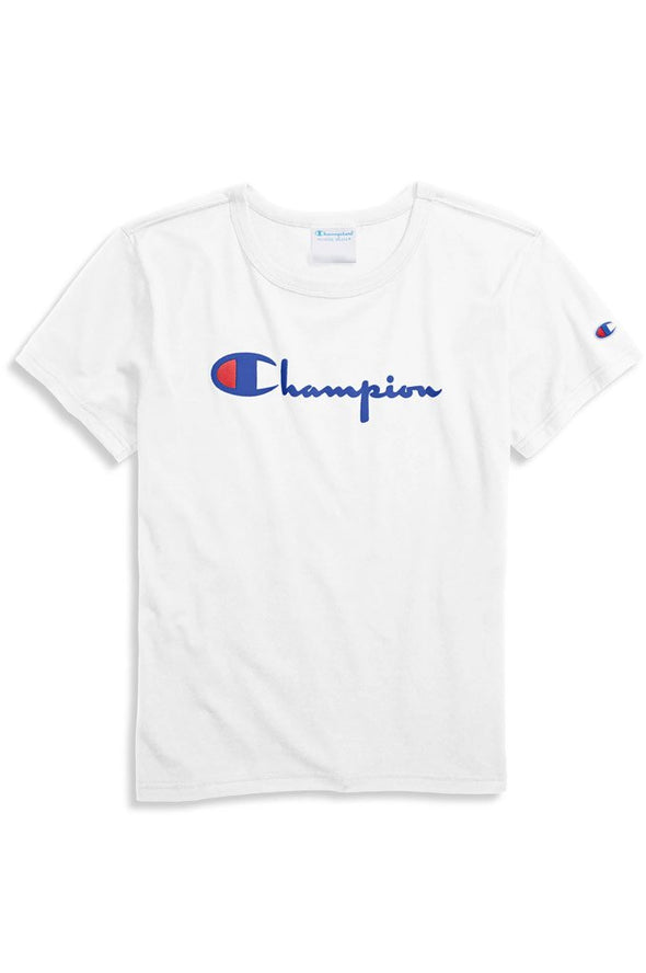 Champion Original Women's Tee, Flocked Vintage Logo - Mainland Skate & Surf