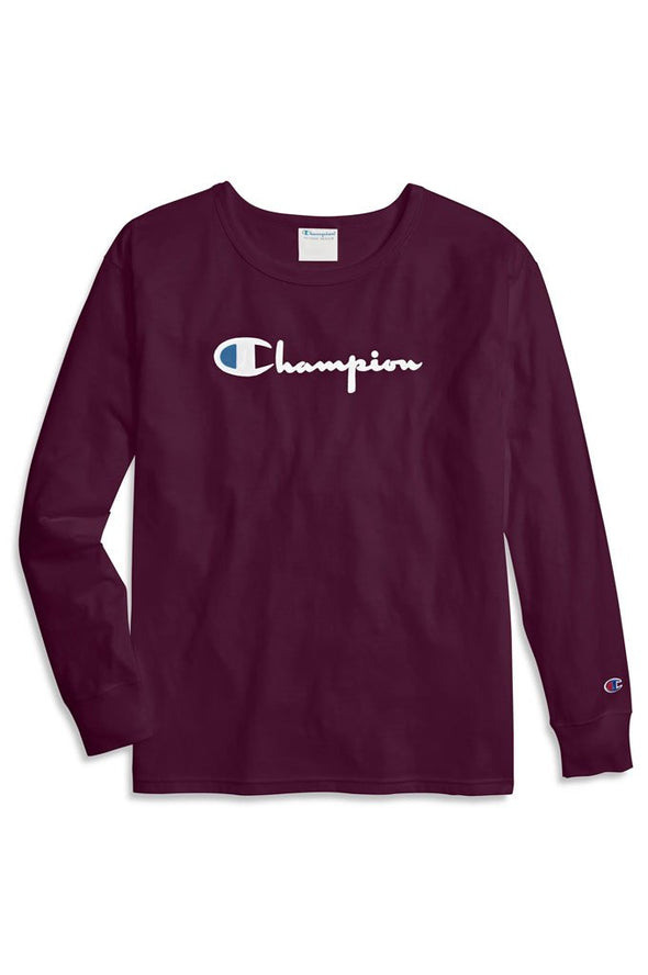 Champion Original Long-Sleeve Women's Tee, Flocked Logo - Mainland Skate & Surf