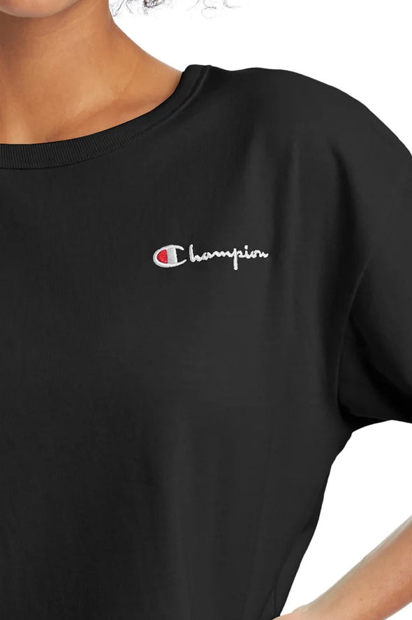 Champion Heritage Cropped Women's Tee, Embroidered Logo