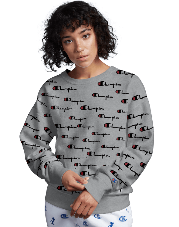 Champion Reverse Weave Women's Crew, All Over Logo - Mainland Skate & Surf
