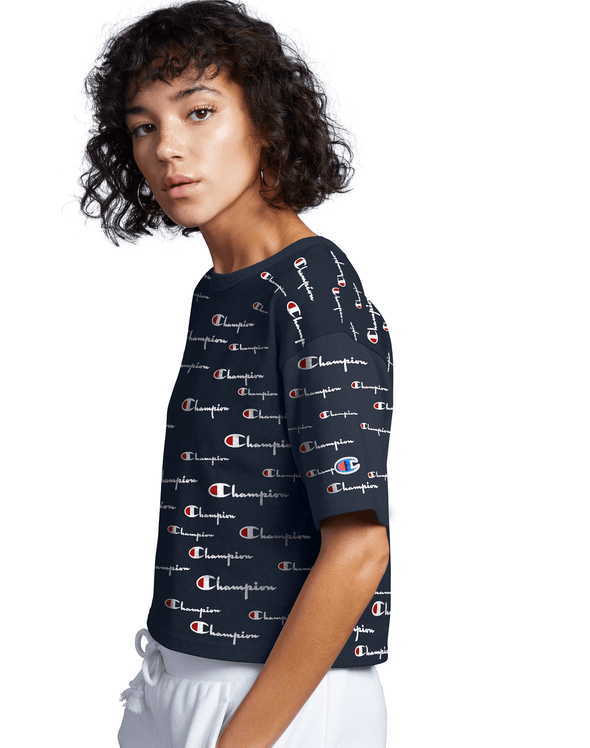 Champion Heritage Cropped Tee, All Over Logo - Mainland Skate & Surf