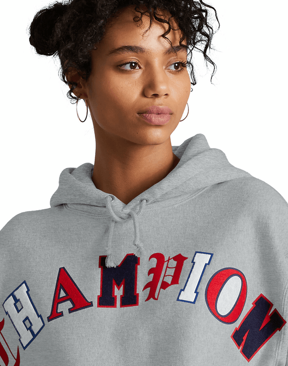 Champion Reverse Weave Crop Cut-Off Old English Lettering Pullover Women's Hoodie - Mainland Skate & Surf
