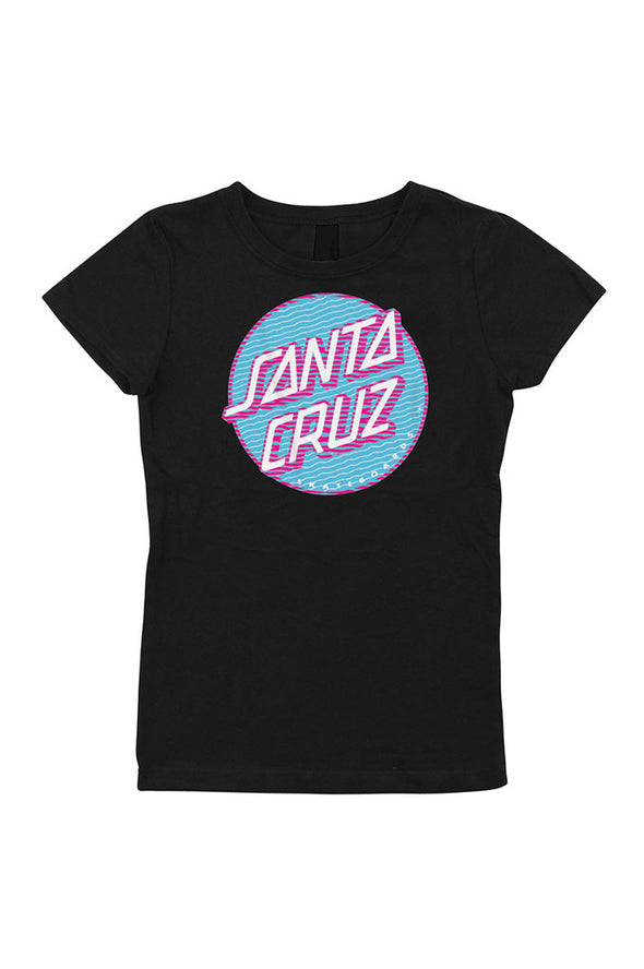 Santa Cruz Lined Dot Fitted Girls Tee - Mainland Skate & Surf