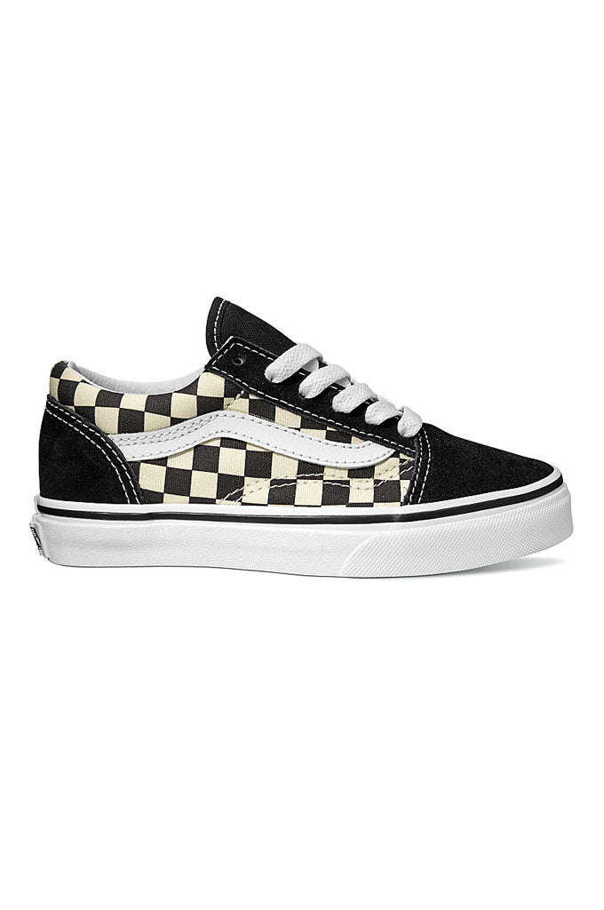 5b27dc16a388 Vans Kids Primary Check Old Skool Shoes – Mainland Skate   Surf