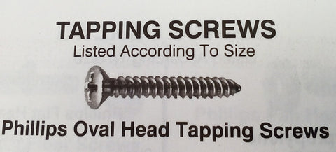 "4x5/8"" Phillips oval head tapping screws Chrome"