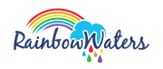 A logo containing a rainbow, a cloud and raindrops.