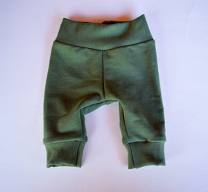 Moss stretchy bamboo terry leggings, full length, cuffed or uncuffed options