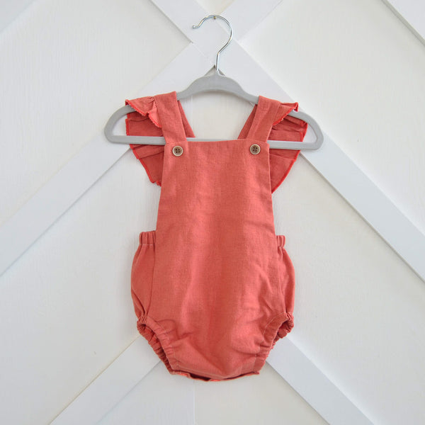 Linen Ruffle Romper, 8 colors available