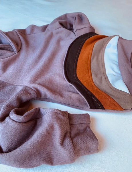 Men's Brown Rainbow hoodie, with earthtone rainbow pocket, organic bamboo