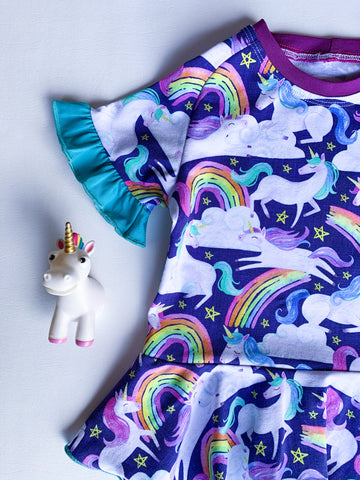 Size 3T, Unicorn Raglan Peplum with ruffle sleeves