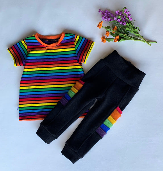 "Baby Medium, 10"" inch Onyx Wool Striders, with rainbow pockets"