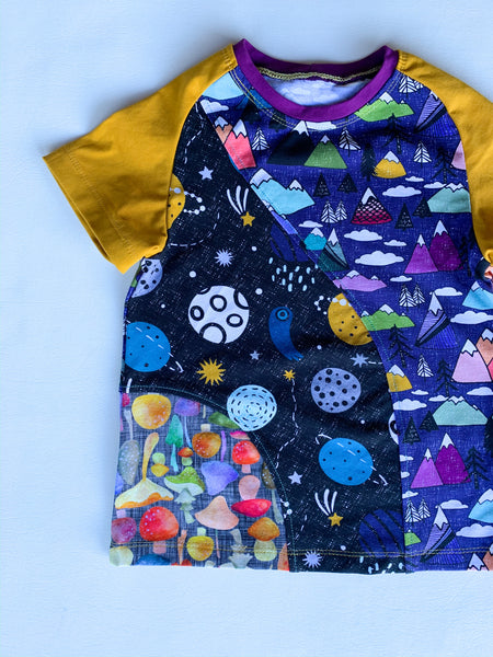 Size 5, Space Gnome Crazy Raglan Tee with short sleeves
