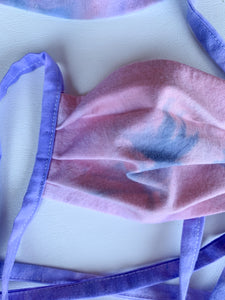 Premium, Organic Cotton, Unicorn Tie Dyed, Petite/Teen Face Covering, with ties or elastic