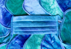 Premium, Organic cotton, Mermaid Tie Dye, Large Face Covering, with ties or elastic