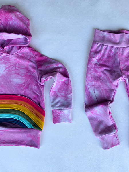 Bubble-bow, tie dye hoodie, with a rainbow pocket, organic bamboo hoodie
