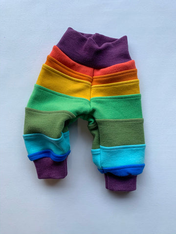 "Baby Medium, 9"" inch inseam, Wool Pants wool joggers with cuffs, rainbow reminiscence"