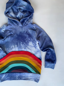 Babies & Kids Rainbow Azul tie dye hoodies with a rainbow pocket, organic bamboo