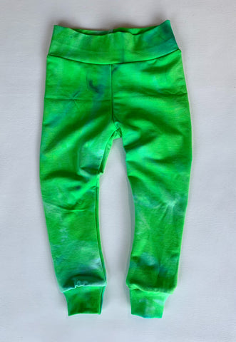 Bright Green tie dye organic bamboo leggings