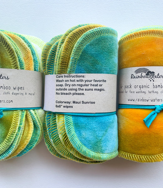 Maui Sunrise 6-pack tie dye organic wipes, 2-ply 6x6""