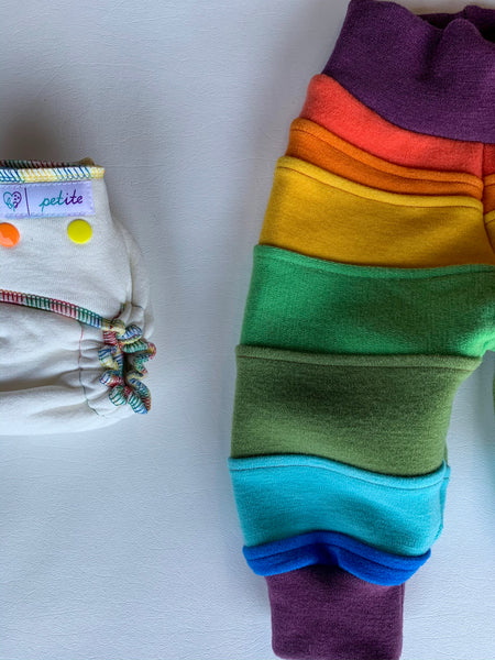 Wool Pants wool joggers with cuffs, rainbow reminiscence