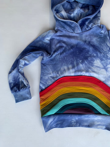 Women's Rainbow Azul tie dye hoodie with a rainbow pocket, organic bamboo