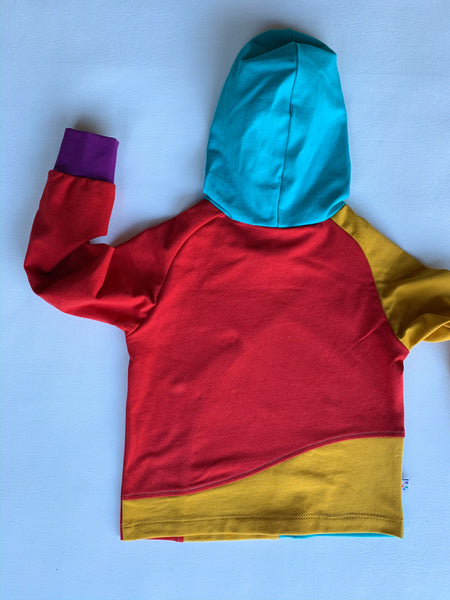 Retro Colorblock Crazy Raglan Hoodie with cuffed long sleeves
