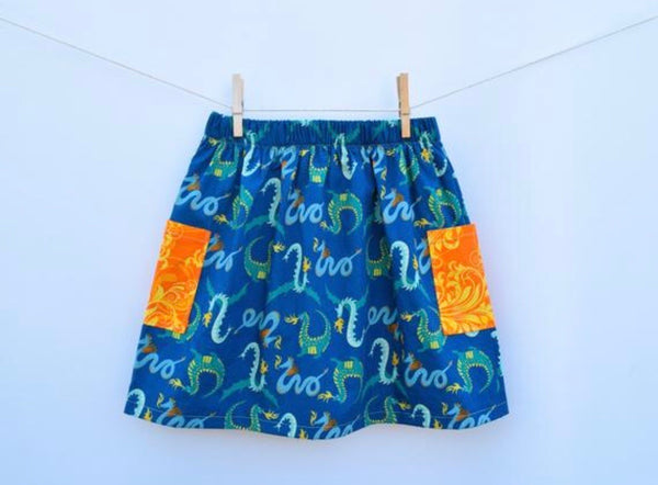Fiery Things Farm Skirt w/ double pockets, 100% Organic Cotton