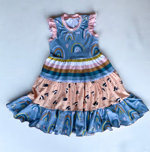 Size 7 Rainbow Rawr crazy dress w/flutter sleeves