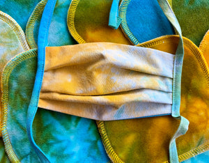 Premium, Organic Cotton, Maui Sunrise Tie Dye, Child sized Face Covering, with ties or elastic