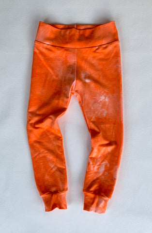 Orange tie dye organic bamboo leggings
