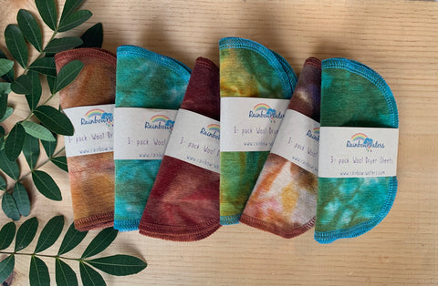 Tie Dye Wool Dryer Sheets, 3 colorway options