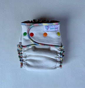 One Size Beanpop Organic Cloth Diaper, rainbow serging & snaps.