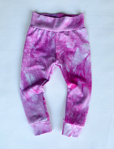 BUBBLE leggings, pink tie dye organic bamboo, kids and baby sizing