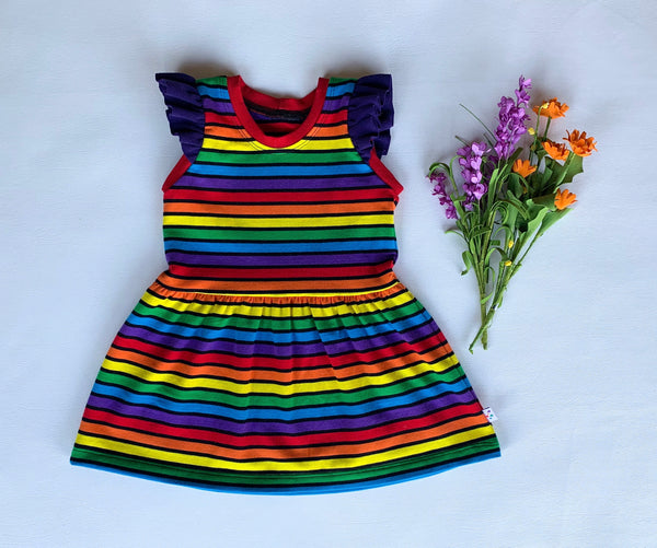 Rainbow Noir Play Dress with flutter sleeves