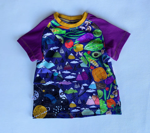 Size 3T, Tomato Mountains Crazy Raglan Tee with short sleeves