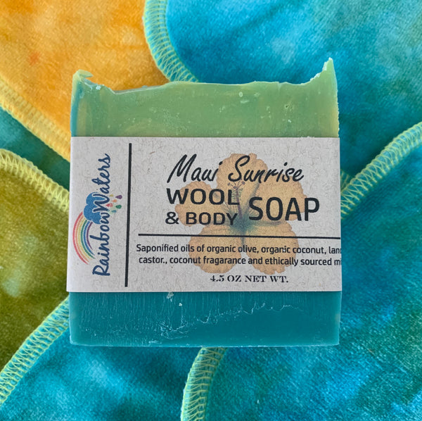 Maui Sunrise, Handcrafted Wool Soap Bar, coconut scent
