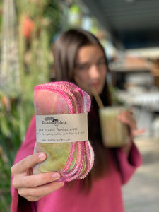Strawberry Kiwi Smoothie 6-pack tie dye organic wipes, 2-ply 6x6""