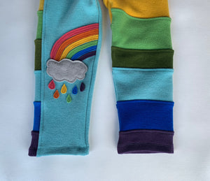 Turquoise Rainbow Wool Pants, limited