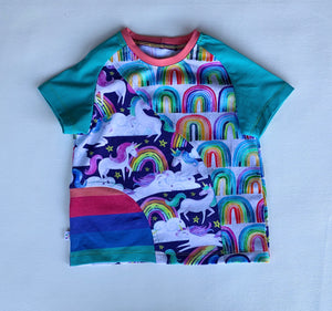 Size 3T, Unicorn Dreams Crazy Raglan Tee with short sleeves