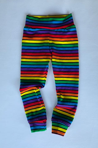 Rainbow Noir Cotton Lycra leggings with cuffs, kids and baby sizing,